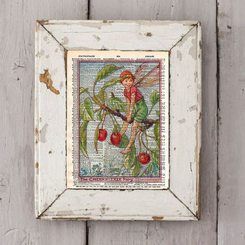 Vintage Flower Fairy art - Cherry Tree art - Fairy art print,  Dictionary print art