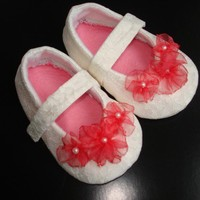 White lace Mary Jane Baby girl shoe/bootie/slipper in sizes 0-18 months