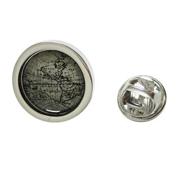 Bordered Old Style World Map Pendant Lapel Pin