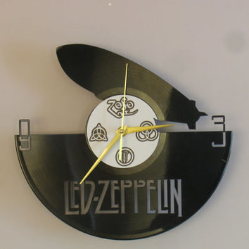 Led Zeppelin clock, vinyl record clock, Led Zeppelin, Jimmy Page, Robert Plant, vinyl wall clock, record wall clock, vinyl clock
