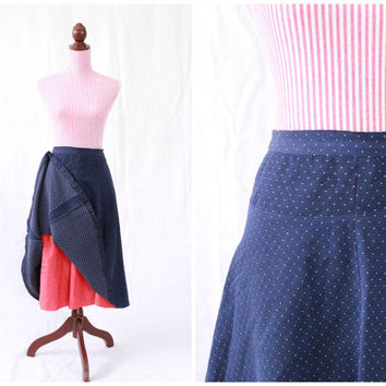 1940s Skirt / VINTAGE / 40s Skirt / Swiss Dot / Navy Blue / Red Petticoat / Swing / Polka Dots