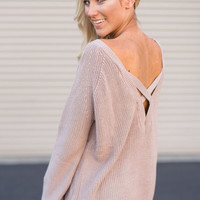 Crossing Signals Open Back Taupe Sweater