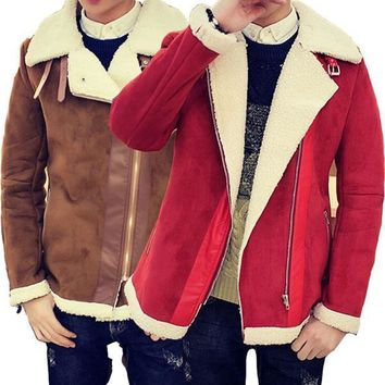 Fall-Shearling Winter Coat Faux Fur Suede Jacket Sid Zip Lamb Wool Mens Sheepskin Coat