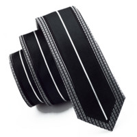 Black and White Vertical Striped Tie