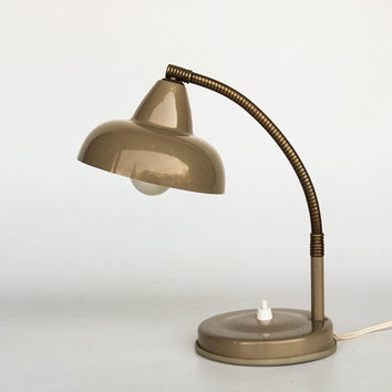 Vintage Gooseneck Table Lamp / Desk Lamp / Office Lamp / 60's Italy /  Mad Men Era Lighting / Brown