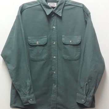 Vintage Levi's Outdoor Alaska Made In USA Military Green Flannel Shirt Size Large