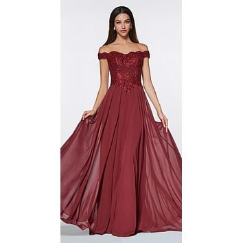 CLEARANCE - Cinderella Divine 7258 Off The Shoulder Long Chiffon Gown Burgundy (Size XL)