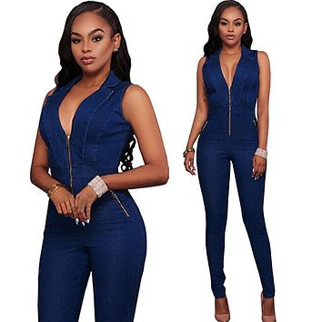 Fashion Summer Women V-neck Bodycon Jumpsuit Romper Long Trousers