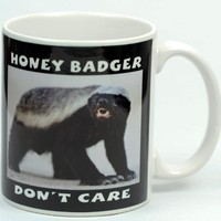 Honey Badger Don't Care mug (Two Image) Photo Quality mug shot on 11 oz Ceramic Coffee Mug cup by R