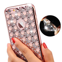 For iPhone 5 5s Brand Gold Bling Glitter Plating Diamond Phone Cases For iPhone 6 6S 7 Plus Soft TPU Back Cover for Girls Women