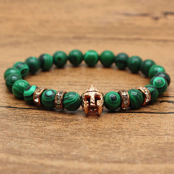 Hansion Hot Roman Knight Spartan Warrior Gladiator Helmet Rhinestone Bracelet Men Malachite Stone Bead Bracelets For Men Jewelry