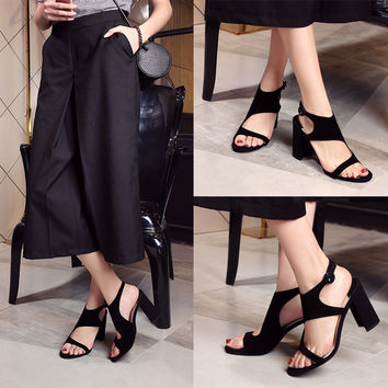 Stylish Design Summer Korean Peep Toe High Heel Shoes Star Sandals [6050457793]