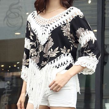 Casual V-Neck Fringe See-Through Crochet Printed Tunic