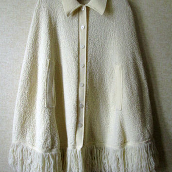 Sweater Cape Ivory White Cream Vintage 60s 70s knit poncho collar fringe cardigan style button front Rosanna women small medium Anthro style