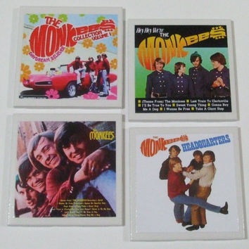 The Monkees Music Covers 4-piece set, Ceramic Tile Art, Ceramic Coasters