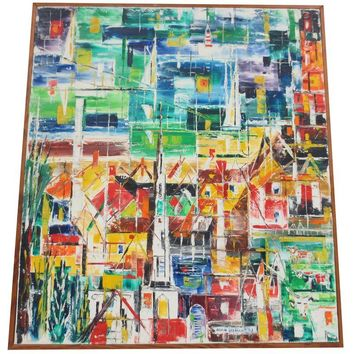 Pre-owned Mid-Century Abstract Cubist Painting C. 1950