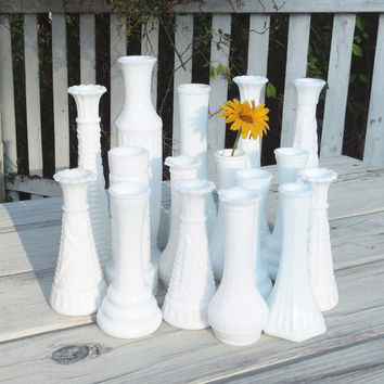 Vintage milk glass bud vases (Lot of 16) - Cottage chic - Country wedding - Restaurant decor (READY to ship)