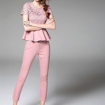 Spring runway designer women clothing set black pink purple ruffle waist hollow out embroidery top high quality suit set