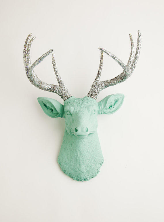 The Agnes - Seafoam Green W/ Silver Glitter Antlers Resin Deer Head- Stag Resin White Faux Taxidermy