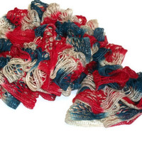 Hand Knit Lacy Ruffled Scarf - Patriotic - Red White and Blue - Fashion Accessory