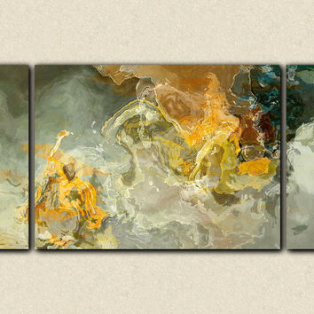 "Oversize triptych abstract art canvas print, 30x60 to 40x78 on stretched canvas, in earth tones, ""Dedicated"""