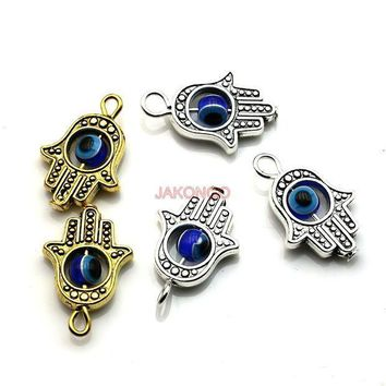 Jakongo Antique Silver Color Hamsa Fatima Hand Charm Evil Blue Eye Bead Fit Pendant Necklace Bracelet Jewelry Accessories Diy