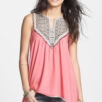 Painted Threads Embroidered Bib Tunic Top (Juniors) (Online Only)