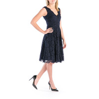 Vera Wang Womens Lace Fit & Flare Cocktail Dress