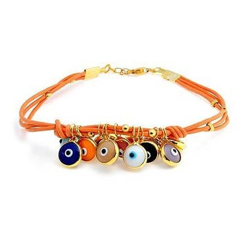 Evil Eye Orange Leather Bracelet 14K Gold Plated 925 Sterling Silver