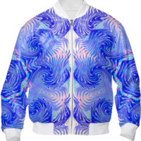 Blue Pink Abstract Ocean Waves Summer Fashion Bomber Jacket created by Pasion4Fashion | Print All Over Me
