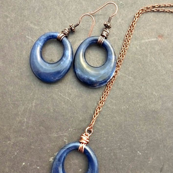 Sodalite blue gemstone and copper necklace. Wire wrapping. Jewelry set.