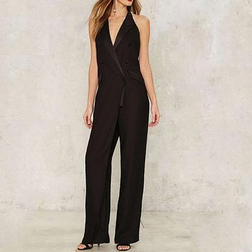 Women Summer Jumpsuit  Rompers Notched Collar Playsuits Backless Halter Elegant Bodysuits