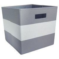 Fabric Cube Storage Bin Gray Stripe - Pillowfort™