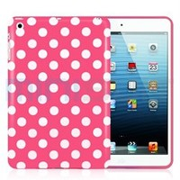 MiniSuit Polka Dot Soft Rubberized Case Cover for Apple iPad Mini (Rose Pink)