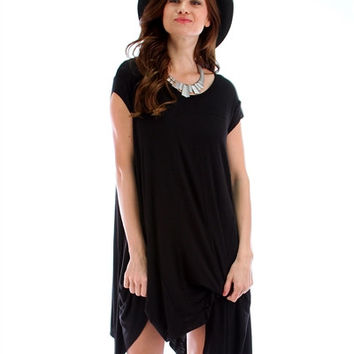 Black Lyss Loo Raw Edge Oversized T-Shirt Dress
