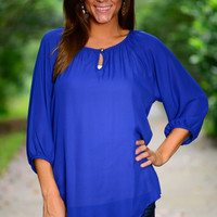 Never Look Back Blouse, Blue