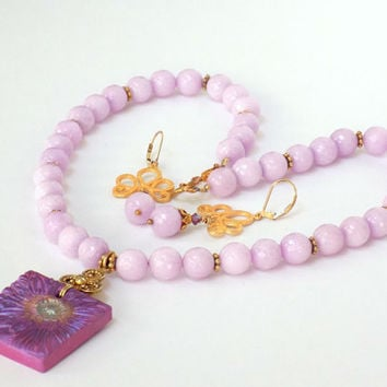 Flower Pendant, Pink Necklace, Lavender Pendant, Pink Jewelry Set, Gemstone Jewelry, Handcrafted Jewelry, Unique Jewelry Set, Gift for Her