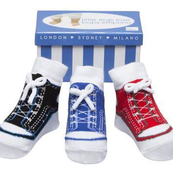 Baby Boy Socks that look like shoes- 0-9 Months - Anti slip-Cotton-3 Pairs - Baby Shower Gift - Gift Box - Faux Shoe Laces - BOY SNEAKERS