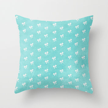 Tiffany Blue Bows Throw Pillow by alterEGO