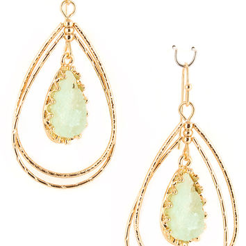 Open Druzy Teardrop Earrings - Mint