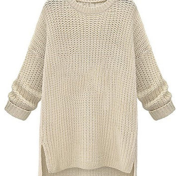 White Split High Low Loose Knitted Sweater