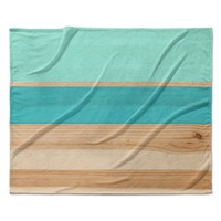 "KESS Original ""Spring Swatch - Blue Green"" Teal Wood Fleece Throw Blanket"