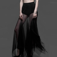 Widow Black Smoke Mesh Maxi Skirt