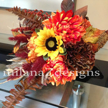 Thanksgiving Cornucopia Arrangement, Fall Autumn Floral Pumpkin Orange Brown and Burgundy Centerpiece,  Harvest Table Decorations