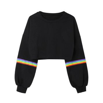 Womens Crop Pullover Top Hoodies Long Sleeve Striped Rainbow Short Crechet Sweatshirt Female Elegant Work Top Sweatshirts#23