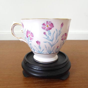 Pink Tuscan Fine English Bone China teacup with hand painted carnations or dianthus