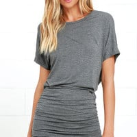 Chic Composure Dark Grey Backless Dress