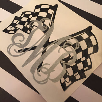 Racing Flag Monogrammed Decal