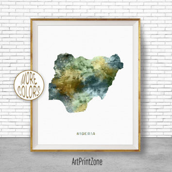 Nigeria Art, Travel Map, Nigeria Map Art, Travel Decor, Travel Prints, Living Room Wall Art, Office Pictures, Art Print Zone