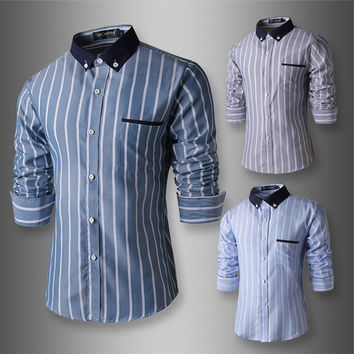 New Color Stripe Men's Fashion Slim Fit Dress Shirt